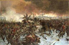 La batalla de Eylau. Artista Louis Francois Flameng.