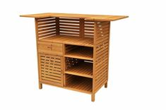 Wooden patio bar with storage