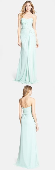 strapless ruched long mint chiffon bridesmaid dress