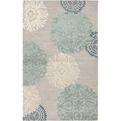 Rizzy Rugs Etta Light Gray & Blue Floral Area Rug