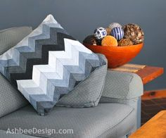 Chevron pillow case from old jeans