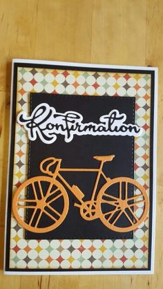 card bike bicycle Marianne design die communion teenager scripty word and letters Scripty Konfirmation  kort til konfirmation