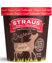 straus family creamery - organic chocolate ice cream - packaging design
