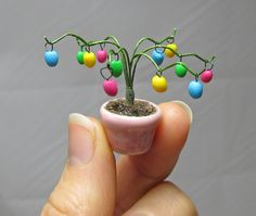 Easter Egg Tree in Pink Pot Handmade Miniature by FauxFoliage