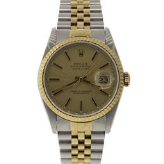 Pre-Owned Rolex Unisex Two-Tone Datejust Pre Owned Rolex, Luxury Jewelry, Gold Watch, Rolex Watches, Jewelry Watches, Unisex, Vintage, Accessories, Vintage Comics