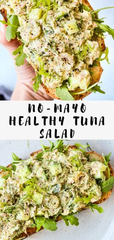 No-Mayo Tuna Salad With Greek Yogurt and Avocado Greek Yogurt Adds Extra Protein And Avocado Adds Healthy Fats Fiber To A Traditional Tuna Salad. This Easy Recipe Is Ready In Under 10 Minutes Add To Toast, Pitas, Or Wraps For A Quick Lunch. Healthy Tuna Recipes, Healthy Tuna Salad, Seafood Recipes, Dinner Recipes, Salad With Tuna, Tuna Salad Recipes, Healthy Tuna Sandwich, Tuna Salad No Mayo, Easy Tuna Salad