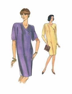 """Vogue 7997 Very Easy Loose Fitting Front Button Dress Misses' or Petite Size 14 Bust 36"""" Sewing Pattern Cut"""