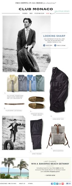 Club Monaco : Building A Look. Cut off corners, layered shirts and heritage imagery