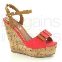 High Platform Cork Wedge Sandal with Ankle Strap