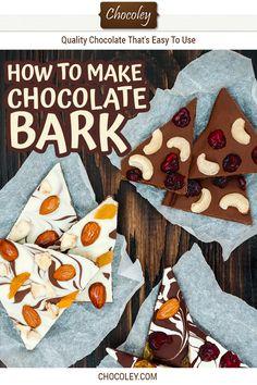 How to make chocolate bark Chocolate Diy, Halloween Chocolate, Chocolate Treats, How To Make Chocolate, Chocolate Recipes, White Chocolate, Mini Marshmallows, Peppermint Bark, Caramel Recipes