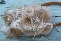Burlap, Linen and Lace Ruffled Headband, Tan and Ivory, Bridal Hair Accessory, Burlap & Lace, Vintage Weddings, Rustic Bride, Farmhouse on Etsy, $17.00