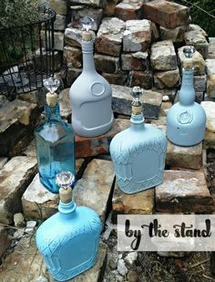Decorative Bottles : Make Gorgeous Decanters from Old Liquor Bottles -Read More – Old Liquor Bottles, Liquor Bottle Crafts, Empty Glass Bottles, Alcohol Bottles, Decorated Liquor Bottles, Painted Bottles, Alcohol Bottle Decorations, Bottle Centerpieces, Antique Bottles