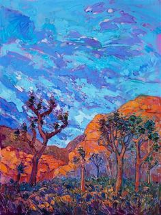 The warm desert light of southern California crests over these rounded granite boulders of Joshua Tree National Park. No matter how many times one visits this park, each dawn is always a brand new revelation of color and striking contrasts of form. This painting captures the vivid and surreal nature of this beautiful landscape.  Glow of Dawn 2016 OIL ON CANVAS by erin hanson 36 x 48 in  Glow of Dawn Online: https://www.erinhanson.com/p/Glow_of_Dawn