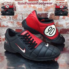 7dad9163afb378 Nike Mens TOTAL 90 Football Trainers Red Black sz 9 Rare SHOOT III Shoe US  10 44