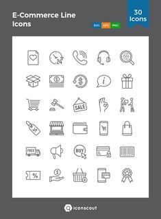 E-Commerce Line Icons  Icon Pack - 30 Line Icons