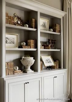 8 tips for giving your bookcase a decorative look, home decor, painted furniture, shelving ideas, Notice that despite the different textures the color palette repeats throughout the entire spaces so that they eye moves freely from one shelf to the next vi Bookcase Styling, Built In Bookcase, Painted Bookcases, Barrister Bookcase, Decoration Bedroom, Room Decor, Home Interior, Interior Design, Interior Livingroom