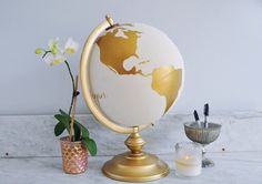 Guestbook Globe Painted Globe World Globe Custom Color and