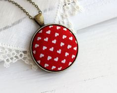 Valentine Jewelry Heart Necklace, Love Red Pendant, Retro Red Heart Jewelry, Valentine's Gift Red Necklace, Valentine's Day Red and White