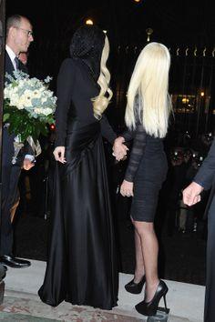 Lady Gaga and Donatella Versace arriving at Versace Fashion Show #4