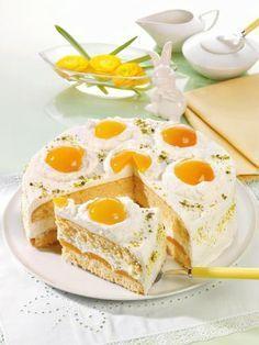Spiegeleier-Torte Easter Recipes, Easter Food, Dessert, Eggs, Breakfast, Fried Eggs, Biscuit, Pies, Food Food