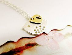 Sterling Silver Bird Necklace Personalized Initial by 4Everinstyle