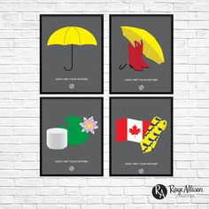 "How I Met Your Mother Combo - ""Yellow Umbrella"", ""Ted & Mother"", ""Lily & Marshall"", ""Barney & Robin""  Printable wall art from Raye Allison Creations. Printables are great for home or office decor, classroom decor, church bulletin boards, and so much more!"