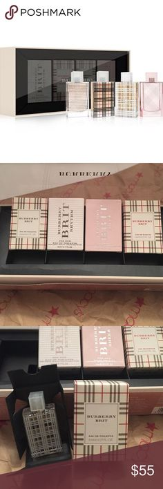 FOR ALL THE BURBERRY BRIT LOVERSNEW IN BOX Burberry Womens Coffret 4/ .17 bottles  Burberry Brit-Eau De Toilette Burberry Brit Rhythm Burberry Brit Sheer Burberry Brit-Eau De Parfum   Authentic New in Box Never Used Only opened for the photos Purchased from Macy's Burberry Other