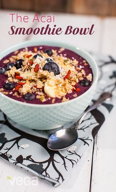 Acai Bowl: Basically a smoothie finished with healthy toppings, antioxidant-packed acai bowls are a delicious spin on the breakfast standard. Get creative with your favorite healthy toppings - think fresh fruit, nuts, seeds, granola etc. #VegaSmoothie