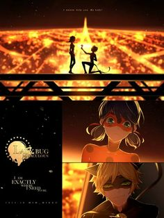 Ladybug and Chat Noir <3  Quote: Do anyone watch this anime first in corean? I do....