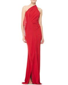 Draped+One-Shoulder+Evening+Gown+by+Donna+Karan+at+Neiman+Marcus.