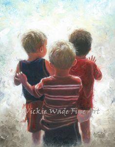 Three Little Boys Art Print three boys wall by VickieWadeFineArt