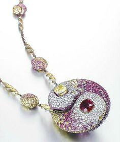 A unique multi-gem 'xuansi' pendent necklace, by Wallace Chan. Photo Christie's Image Ltd 2014