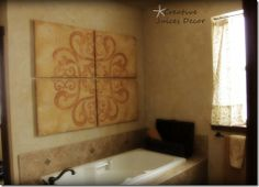 I like the 4 piece wall thing  blog rustic tuscan master bathroom. Finally for the living room!