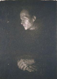 Käthe Kollwitz, Arbeiterfrau im Profil nach links, 1903