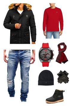 Tenue d hiver chaude pour l hiver 2019 comprenant un pull rouge, blouson ceb4afe0fad