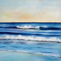 Ocean painting Breaking Waves I 20x20 oil on deep wrapped canvas. $395.00, via Etsy.