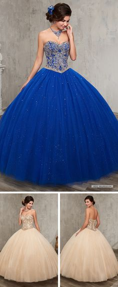 Mary's Quinceanera Style 4Q512 • Sparkling tulle quinceanera ball gown with beaded bodice, strapless sweetheart neck line, basque waist line, and back with lace-up closure.