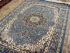 Da300X200 A180X120 Lana Tappeto Favoloso Disegno Nain Persiano Orientale Azzurro