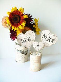 Wedding Cake Topper Mr & Mrs Birch Bark Rustic by jadenrainspired, $24.00