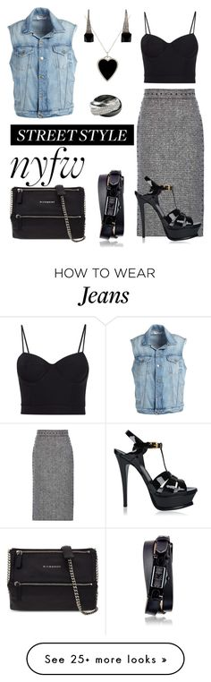 """Jeans vest"" by lomozui on Polyvore featuring Jennifer Meyer Jewelry, Frame Denim, Valentino, Alexander Wang, Gucci, Cartier, Givenchy, Yves Saint Laurent, StreetStyle and NYFW"