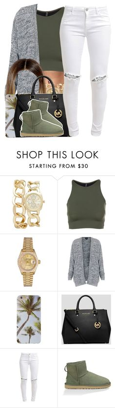 """Been A While.."" by nasiaamiraaa ❤ liked on Polyvore featuring Forever New, Onzie, Rolex, Topshop, MICHAEL Michael Kors, FiveUnits, UGG Australia and NanaOutfits"