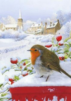 Leading Illustration & Publishing Agency based in London, New York & Marbella. Christmas Artwork, Christmas Bird, Christmas Paintings, Christmas Scenes, Christmas Pictures, Vintage Christmas, Xmas, Bird Illustration, Christmas Illustration