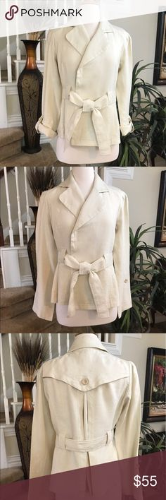 Diane von Furstenberg Cream Belted Jacket Stunning DVF that features a belted waist, rain flap back with oversized pleat in the middle, rollable cuff for a different look, 2 slit pockets. Gorgeous with a long skirt or palazzo pants! Diane von Furstenberg Jackets & Coats Blazers