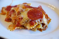 Pepperoni and Sausage Pizza Casserole