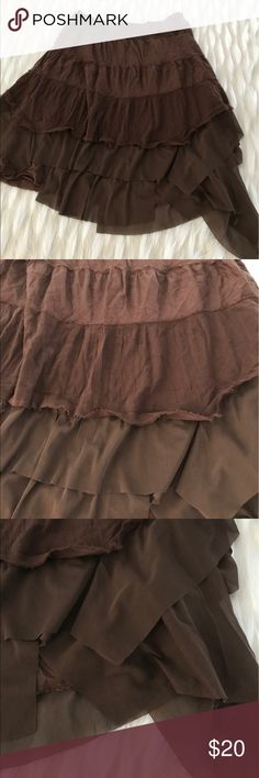 """Free People brown tier skirt Measurements, while lying flat: top to hem-24""""  waist-16.5"""" (unstretched)   Please feel free to ask questions. Please see photos to guarantee we meet your desires. Free People Skirts Midi"""
