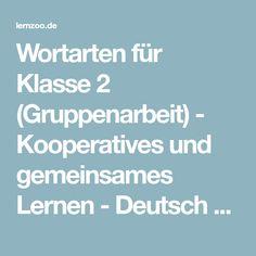 Wortarten für Klasse 2 (Gruppenarbeit) - Kooperatives und gemeinsames Lernen - Deutsch ⋆ Lernzoo.de