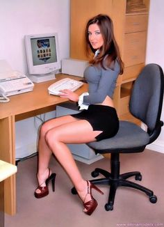 black mini skirt office lady