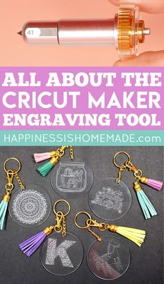 Learn all about the Cricut Engraving Tool Tip and engrave with your Cricut Maker machine! The Cricut Engraving Tip can engrave soft metals, acrylic, leather, paper, and plastic to add a variety of project options to your crafting arsenal! Cricut Ideas, Cricut Tutorials, Ideas For Cricut Projects, Cricut Vinyl Projects, Cricut Projects Christmas, Cricut Explore Projects, Cricut Explore Air, Circuit Crafts, Circuit Projects
