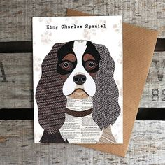 King Charles Spaniel Dog Card by Simon Hart, the perfect gift for Explore more unique gifts in our curated marketplace. Dog Quilts, Animal Quilts, Barn Quilts, Schnauzer, Wire Fox Terrier, Yorkshire Terrier Puppies, English Bull Terriers, Dog Crafts, Dog Illustration