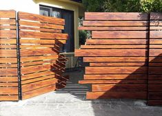Knotwood - Wood look Aluminium systems. House Fence Design, Fence Gate Design, Modern Fence Design, Privacy Fence Designs, Front Gate Design, Main Gate Design, Garden Design, Backyard Gates, Wooden Gates